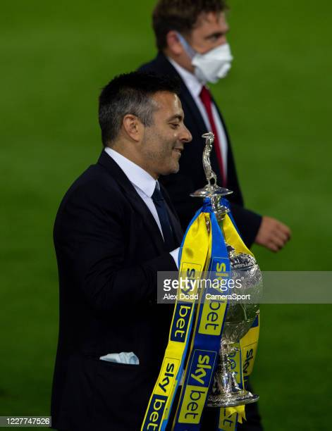 Leeds United owner Andrea Radrizzani carries the trophy to its plinth during the Sky Bet Championship match between Leeds United and Charlton...