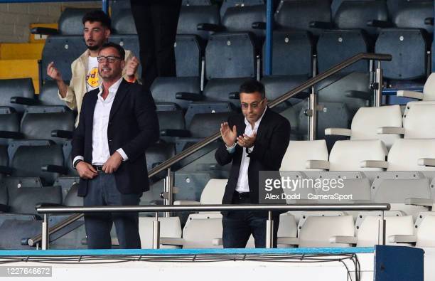 Leeds United owner Andrea Radrizzani celebrates after the match during the Sky Bet Championship match between Leeds United and Barnsley at Elland...