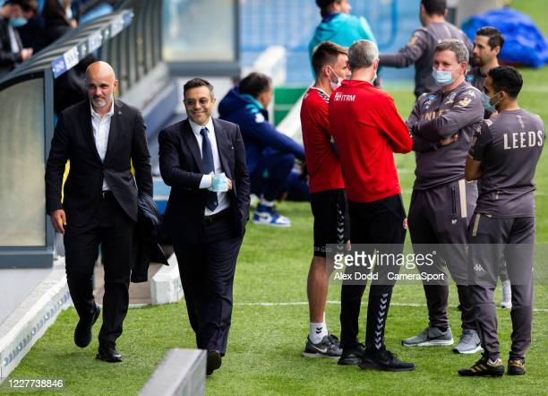 Leeds United owner Andrea Radrizzani chats by the side of the pitch during the Sky Bet Championship match between Leeds United and Charlton Athletic...
