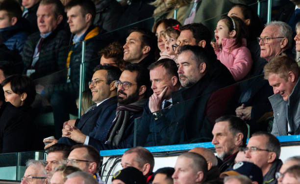 Leeds United owner Andrea Radrizzani watches on with director of football Victor Orta and CEO Angus Kinnear during the Sky Bet Championship match...