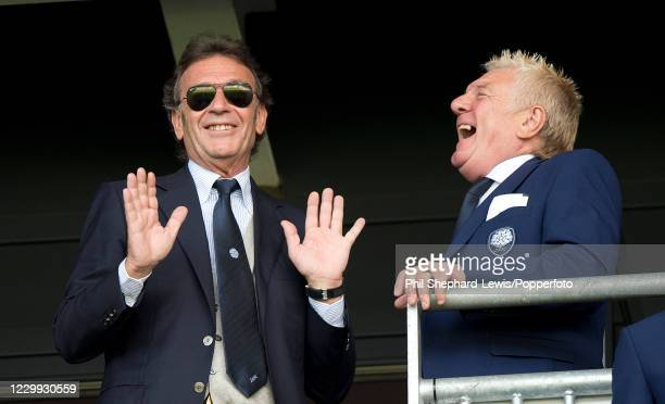 Leeds United owner Massimo Cellino shares a joke during the Sky Bet Championship match between Milton Keynes Dons and Leeds United at Stadium MK on...