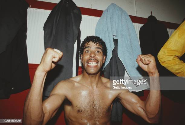 Leeds United player Chris Kamara celebrates in the dressing room after Leeds United had gained promotion to the 1st Division, after a Division two...