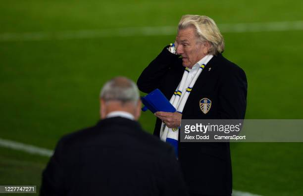 Leeds United player liaison officer Stix Lockwood wipes a tear from his eye during the Sky Bet Championship match between Leeds United and Charlton...