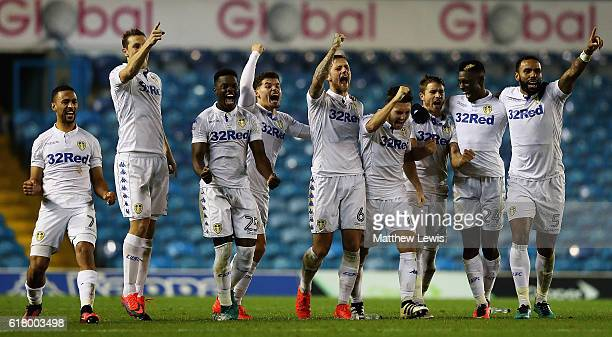 Leeds United players celebrate a penalty going in during the EFL Cup Fourth Round match between Leeds United and Norwich City at Elland Road on...