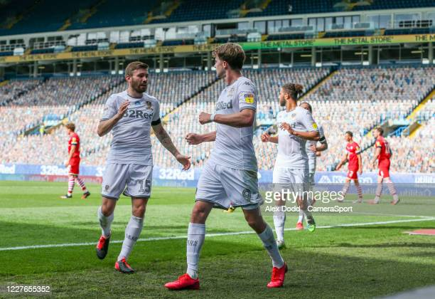 Leeds United players celebrate scoring the opening goal during the Sky Bet Championship match between Leeds United and Barnsley at Elland Road on...