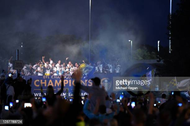 Leeds United players celebrate with fans after the Sky Bet Championship match between Leeds United and Charlton Athletic at Elland Road on July 22,...