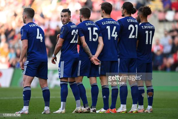 Leeds United players line up the wall ahead of a free kick during the English Premier League football match between Southampton and Leeds United at...