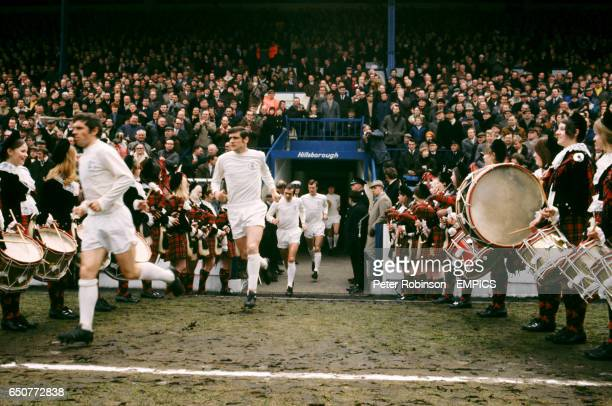 Leeds United run out at Hillsborough for the FA Cup semi final Johnny Giles Norman Hunter Terry Cooper Paul Madeley Peter Lorimer