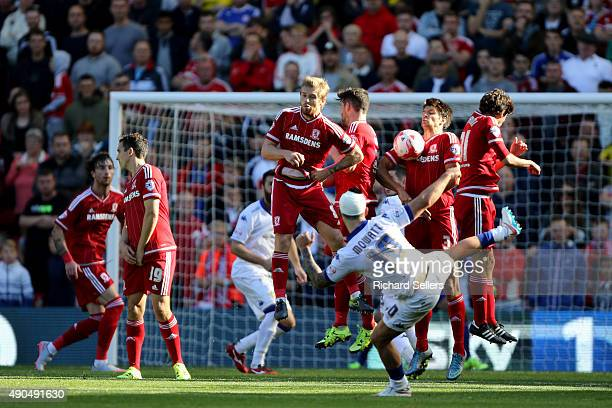 Leeds United's Alex Mowatt fire his free kick into Boro wall during the Sky Bet Championship match between Middlesbrough and Leeds United at the...