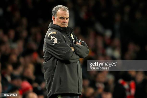 Leeds United's Argentinian head coach Marcelo Bielsa watches from the touchline during the English FA Cup third round football match between Arsenal...