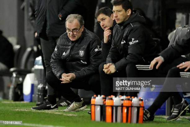 Leeds United's Argentinian head coach Marcelo Bielsa watches his players from the touchline during the English Premier League football match between...