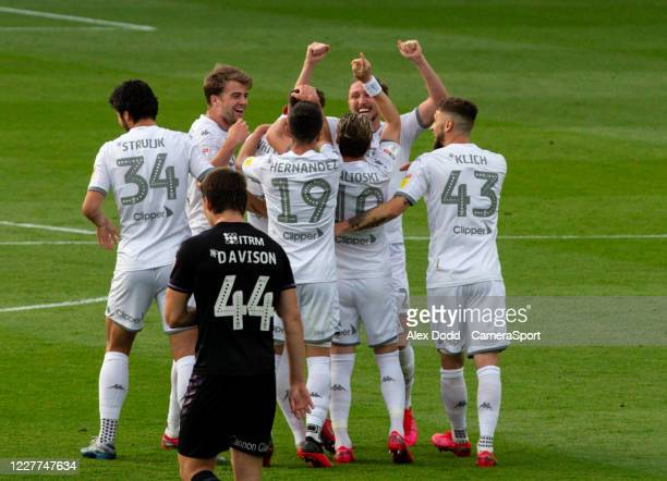 Leeds United's Ben White celebrates scoring his side's first goal with teammates during the Sky Bet Championship match between Leeds United and...