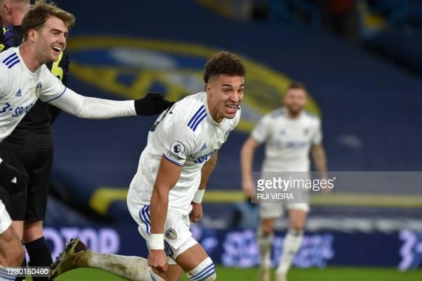 Leeds United's Brazilian-born Spanish striker Rodrigo celebrates after scoring their second goal during the English Premier League football match...