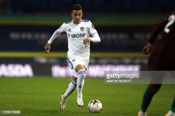 Leeds United's Brazilian-born Spanish striker Rodrigo runs with the ball during the English Premier League football match between Leeds United and...