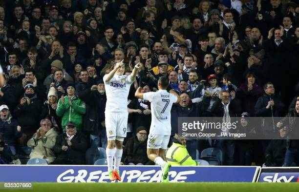 Leeds United's Chris Wood celebrates scoring his side's first goal of the game during the Sky Bet Championship match at Elland Road Leeds
