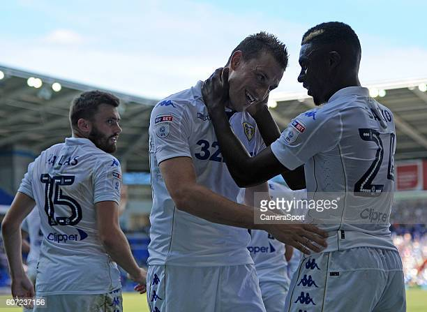 CELE Leeds United's Chris Wood celebrates scoring the opening goal during the Sky Bet Championship match between Cardiff City and Leeds United...