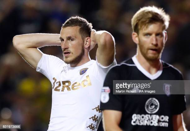 Leeds United's Chris Wood reacts after a missed chance at goal during the Sky Bet Championship match at Elland Road Leeds