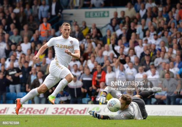 Leeds United's Chris Wood sees his shot saved by Preston North End's Chris Maxwell during the Sky Bet Championship match at Elland Road Leeds