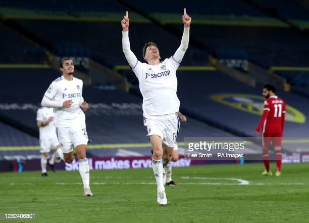 Leeds United's Diego Llorente celebrates scoring their side's first goal of the game during the Premier League match at Elland Road, Leeds. Picture...