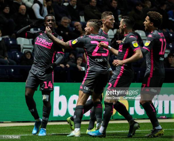 Leeds United's Eddie Nketiah celebrates scoring his side's equalising goal to make the score 11 during the Sky Bet Championship match between Preston...
