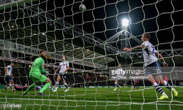 Leeds United's Eddie Nketiah scores his side's first goal during the Sky Bet Championship match between Preston North End and Leeds United at...