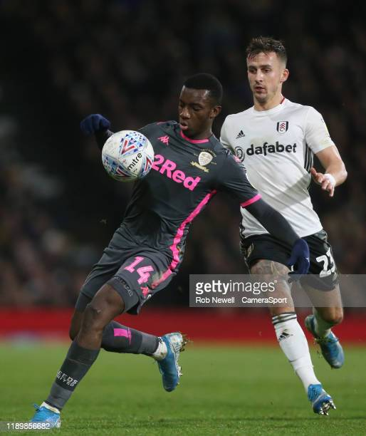 Leeds United's Edward Nketiah and Fulham's Joe Bryan during the Sky Bet Championship match between Fulham and Leeds United at Craven Cottage on...
