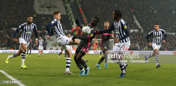 Leeds United's Edward Nketiah and West Bromwich Albion's Romaine Sawyers during the Sky Bet Championship match between West Bromwich Albion and Leeds...