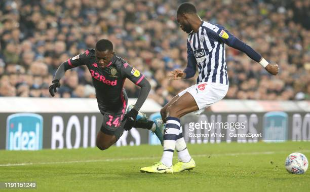 Leeds United's Edward Nketiah and West Bromwich Albion's Semi Ajayi during the Sky Bet Championship match between West Bromwich Albion and Leeds...
