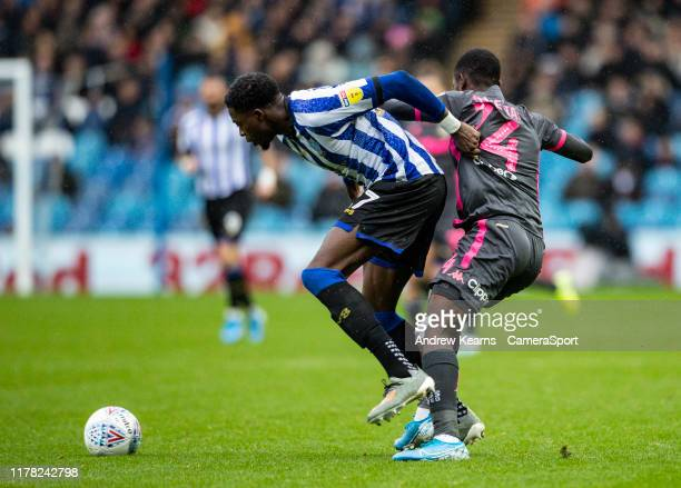 Leeds United's Edward Nketiah competing with Sheffield Wednesday's Dominic Iorfa during the Sky Bet Championship match between Sheffield Wednesday...