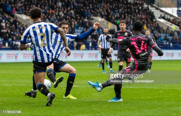 Leeds United's Edward Nketiah shoots at goal during the Sky Bet Championship match between Sheffield Wednesday and Leeds United at Hillsborough...