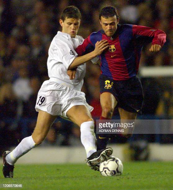 Leeds United's Eirik Bakke and Barcelona's Luis Enrique fight for the ball 24 October 2000 during their Champions League match at Elland Road in...
