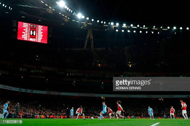 Leeds United's English midfielder Kalvin Phillips receives the ball during the English FA Cup third round football match between Arsenal and Leeds...