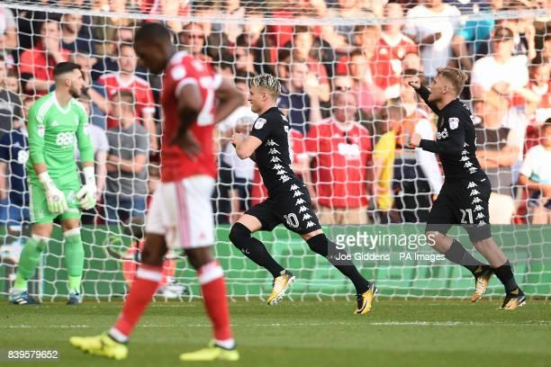 Leeds United's Ezgjan Alioski celebrates scoring the second goal during the Sky Bet Championship match at the City Ground, Nottingham.
