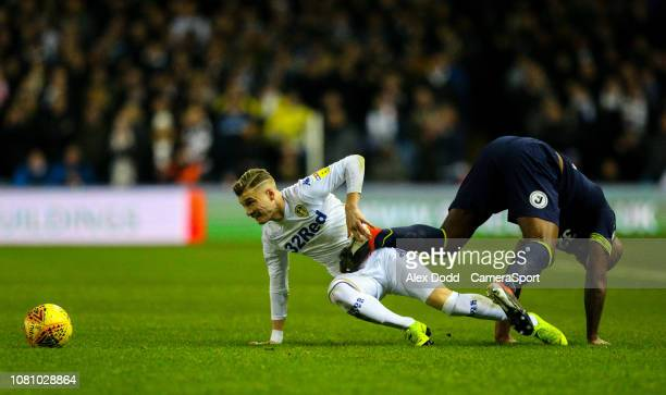 Leeds United's Ezgjan Alioski battles with Derby County's Andre Wisdom during the Sky Bet Championship match between Leeds United and Derby County at...