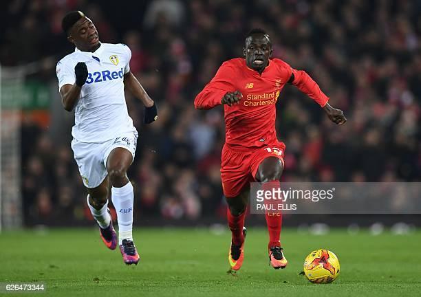 Leeds United's French midfielder Hadi Sacko vies with Liverpool's Senegalese midfielder Sadio Mane during the EFL Cup quarterfinal football match...