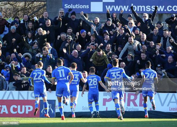 CELE Leeds United's Gaetano Berardi celebrates scoring the opening goal during the Emirates FA Cup Third Round match between Newport County and Leeds...
