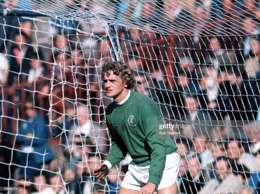 Leeds United's goalkeeper Gary Sprake in action
