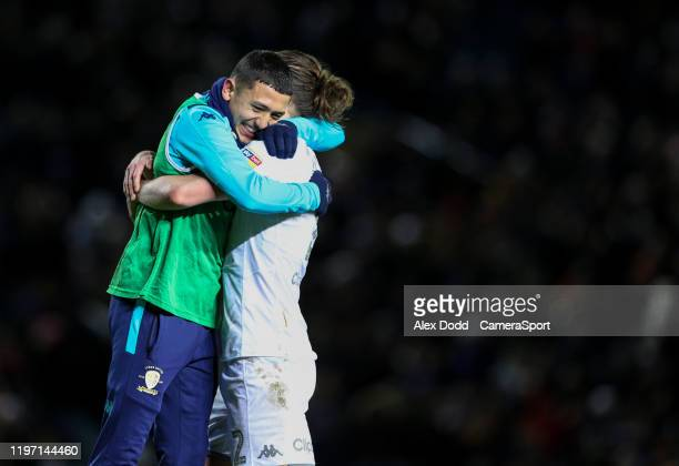Leeds United's Ian Poveda celebrates with Luke Ayling after the game during the Sky Bet Championship match between Leeds United and Millwall at...