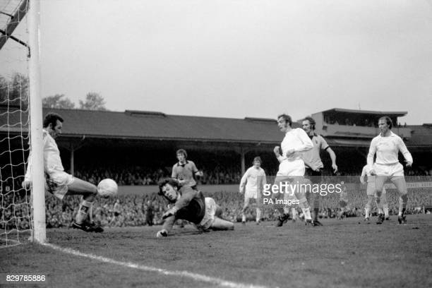 Leeds United's Jack Charlton and Paul Madeley look on as teammates Paul Reaney and David Harvey are unable to prevent Wolverhampton Wanderers'...