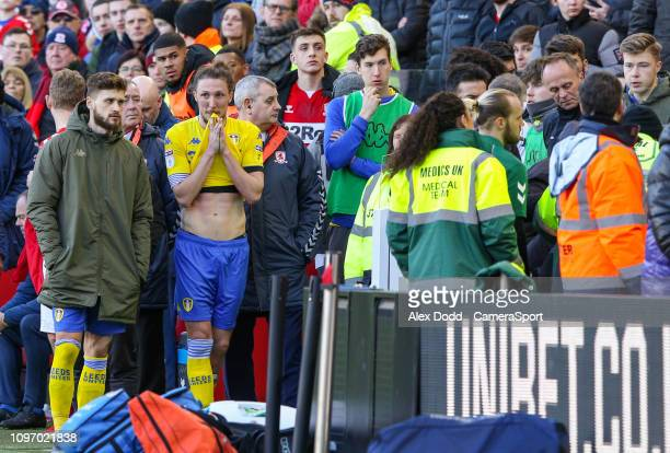 Leeds United's Jack Clarke receives treatment from medical staff on the bench during the second half during the Sky Bet Championship match between...