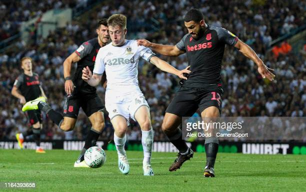 Leeds United's Jack Clarke shields the ball from Stoke City's Cameron CarterVickers during the Carabao Cup Second Round match between Leeds United...