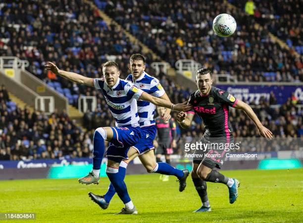 Leeds United's Jack Harrison competing with Reading's Chris Gunter during the Sky Bet Championship match between Reading and Leeds United at Madejski...