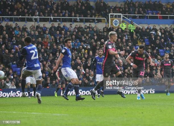 Leeds United's Jack Harrison scores his sides second goal during the Sky Bet Championship match between Birmingham City and Leeds United at St...