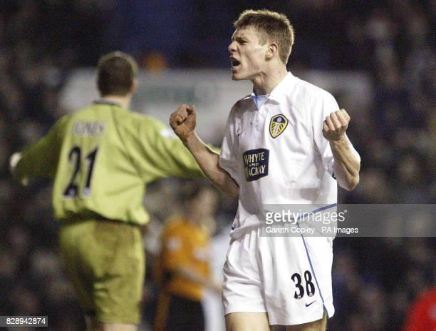 Leeds United's James Milner celebrates scoring the third goal against Wolverhampton Wanderers during the Barclaycard Premiership match at Elland...