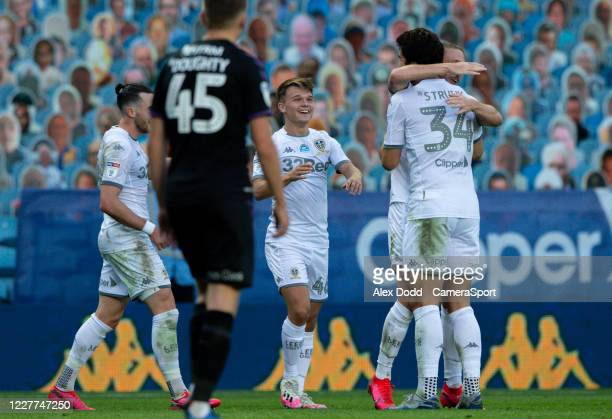 Leeds United's Jamie Shackleton celebrates scoring his side's fourth goal with teammates during the Sky Bet Championship match between Leeds United...