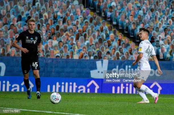 Leeds United's Jamie Shackleton slots his sides fourth goal during the Sky Bet Championship match between Leeds United and Charlton Athletic at...