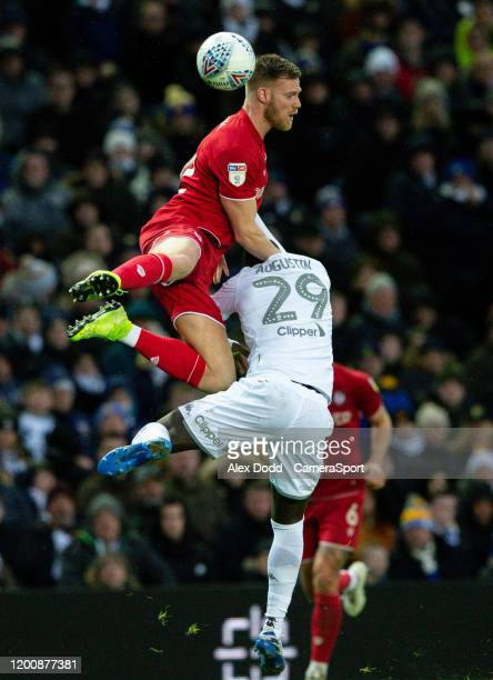 Leeds United's JeanKevin Augustin battles with Bristol City's Tomas Kalas during the Sky Bet Championship match between Leeds United and Bristol City...