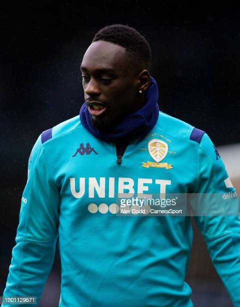 Leeds United's JeanKevin Augustin warms up during the Sky Bet Championship match between Leeds United and Bristol City at Elland Road on February 15...