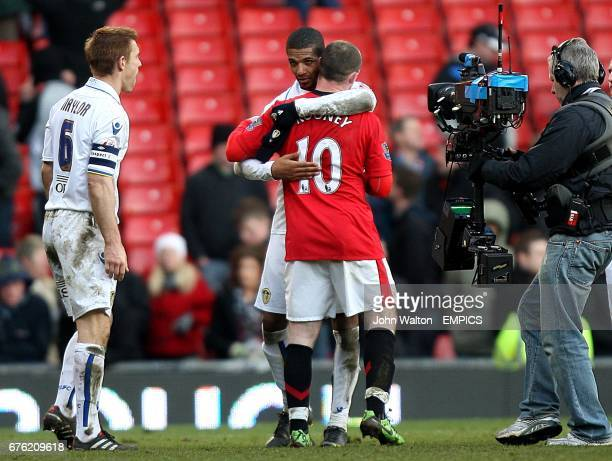Leeds United's Jermaine Beckford is congratulated by Manchester United's Wayne Rooney after the final whistle