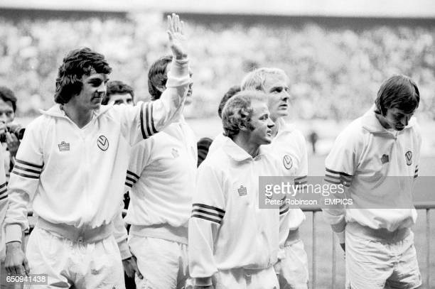 Leeds United's Joe Jordan Paul Madeley Billy Bremner Terry Yorath and Allan Clarke pictured before the match